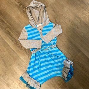 NWT me & ko Blue & Gray Toddler Dress - 2T